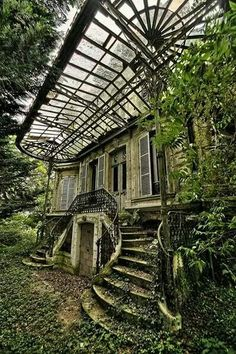 if you want to find me then look for abandoned house surrounded by big garden where I grow my flowers, wear only lace dresses, bake cookies and cakes drink lots of wine and dance under the Hozier and. Abandoned Buildings, Abandoned Mansions, Old Buildings, Abandoned Places, Abandoned Library, Abandoned Castles, Beautiful Buildings, Beautiful Places, Stairways
