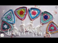 Banderines a crochet - YouTube Crochet Gloves Pattern, Granny Square Crochet Pattern, Crochet Flower Patterns, Crochet Squares, Crochet Granny, Crochet Yarn, Crochet Flowers, Easy Crochet, Crochet Braids Marley Hair