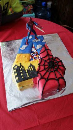 Number 4 Spiderman Birthday Cake, boys, fondant with Blue velvet cake