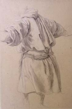 """Lord Frederic Leighton, """"Study of a Man in a Short Tunic"""", Black and white chalks on buff paper, 30.0 x 20.5 cm"""