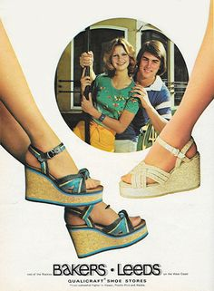 70s platform shoes sandals wedge heels blue tan raffia Baker's print ad May 1977. 'Rope & cork. Everything's zing. 14.99 & 17.99'