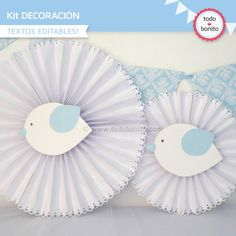 rosetas de papel bautismo varon Boy Baptism, Christening, Baby Shower Parties, Baby Boy Shower, Paper Fan Decorations, Paper Rosettes, Bird Party, Baby Shawer, Twin Birthday