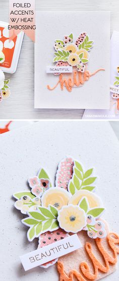 Add foiled accents to color layering images with the help of heat embossing. Learn how to make this simple floral card with WPlus9 Fresh Cut stamps and dies and Hend Lettered Hello sentiment. To watch a video tutorial and for more info, please visit http://www.yanasmakula.com/?p=54172