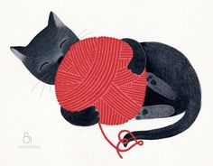 Black cat red yarn cute illustration children decor - The cat print 8 x 11.5  print based on an original illustration by teconlene on Etsy https://www.etsy.com/listing/100838746/black-cat-red-yarn-cute-illustration