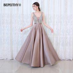 93429da31ec Bepeithy v-образным вырезом Бусины и бисер лиф с открытой спиной линии  длинное вечернее платье