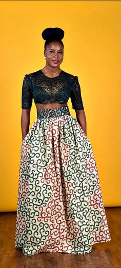 Royal African print- Maxi Skirt. African Wax print Gathered waistline maxi skirt   This skirt is uniquely made with a 4 inch laceband wait and it's more beautiful in person.  Ankara | Dutch wax | Kente | Kitenge | Dashiki | African print dress | African f http://www.buzzblend.com