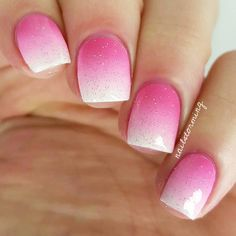 """Pink gradient nail art using: Hot pink: """"Fuschia In Show Biz"""" Pop-arazzi (it stains be careful) Middle pink: """"Boom Boom Room"""" Essie White: """"French Tip"""" and China Glaze: """"Fairy Dust"""""""