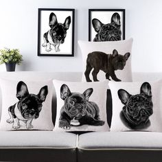 Choice Of 4 Vintage French Bulldog Throw Pillows Without Core