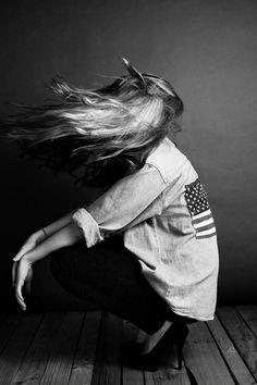 USA | American Flag | patriotism | denim shirt | wind in the hair | black & white fashion editorial |