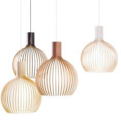 OCTO - Lámparas realizadas a mano, con el exquisito acabado de un experto artesano. Hechas con listones prensados laminados de abedul, unidos mediante anillos metálicos.