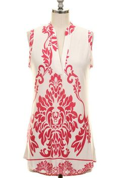 Coral Sleeveless Baroque Top