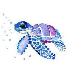 Blue Purple Sea Turtle, Turtle for nursery Mini Art Print by sureart – tiere Sea Turtle Painting, Sea Turtle Art, Sea Turtle Nursery, Watercolor Sea, Watercolor Paintings, Simple Watercolor, Turtle Tattoo Designs, Sea Turtle Tattoos, Ocean Tattoos
