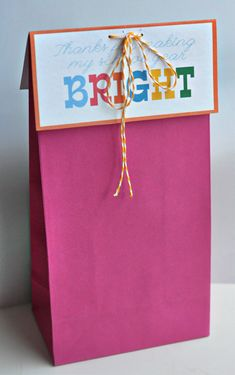 """Teacher Appreciation gift:  set of highlighters with gift card in  """"Thanks for making my school year bright"""" bag"""