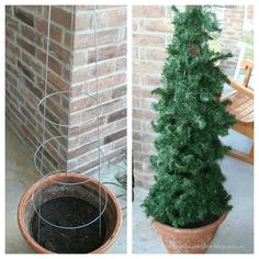 Reasons for Chocolate: Tomato Cage Christmas Tree porch decoration