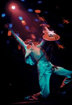 Jimmy Page on stage at Madison Square Garden in 1977, during Led Zeppelin's eleventh US tour.