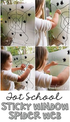 Sticky windows are so much fun! This spider web sticky window is great fine motor practice with a bat and spider theme. Great for tot school, preschool, or even kindergarten! Halloween Activities, Autumn Activities, Halloween Themes, Halloween Crafts, Preschool Halloween, Toddler Halloween, Homemade Halloween, Fall Crafts, Halloween Decorations