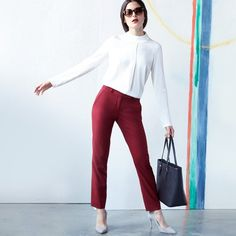 Make that white blouse pop – pair it with a pair of trousers in a berry tone.