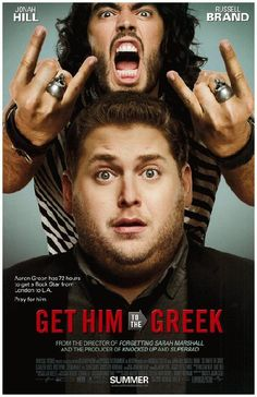 Original movie promo poster for Get Him To The Greek starring Jonah Hill and Russel Brand from 2101. 11 x 17 inches on thin glossy paper.