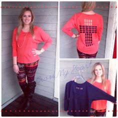 {Cross My Heart} top$26.74! Looks super cute with our printed leggings $23.74 and riding boots! Available in coral and navy!