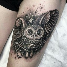 I think I found my owl tattoo!! This is gorgeous