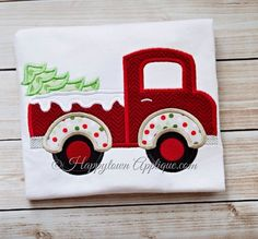 Tree with Truck Machine Embroidery Design by HappytownApplique, $4.00