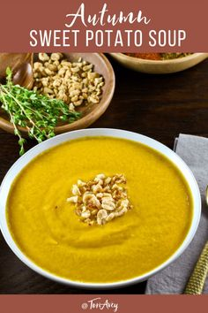 Autumn Sweet Potato Soup - Delicious vegan African-inspired soup recipe with yams, zucchini, tomatoes, and spices. Peanut butter gives it an unexpected, creamy flavor. #yams #peanutbutter #vegan #soup #Sukkot Kosher Recipes, Soup Recipes, Dinner Recipes, Cooking Recipes, Lunch Recipes, Yam Recipes, Zuchinni Recipes, Potato Recipes, Vegan
