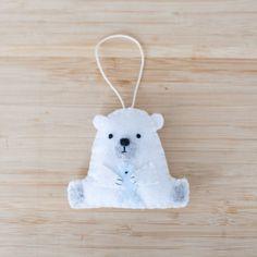 felt polar bear ornament, handmade bear ornament, decorative bear ornament, nursery decoration, home decor, baby gifts, holiday decoration