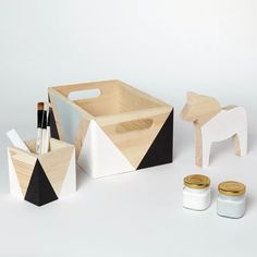 Monochrome set of wooden box, wooden pot and Dala horse /by Happy Little Folks/ happylittlefolks.com