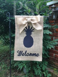 "Burlap Garden Flag - ""Welcome"" with pineapple and burlap bow on Etsy, $20.00"