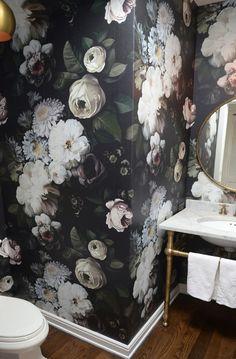 dark floral wallpaper in bathroom