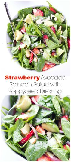Quick and easy spinach salad with creamy avocado and sweet strawberries, tossed in a homemade poppyseed dressing | littlebroken.com @littlebroken
