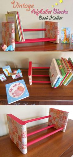 This DIY book holder was created using cute alphabet block paper, Mod Podge and a spice rack from the hardware store. So easy!