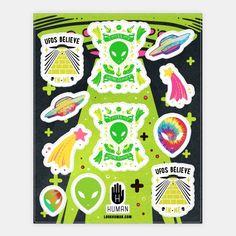 Retro Alien Sticker Sheet | Stickers, Sticker Sheets and Vinyl Stickers | HUMAN