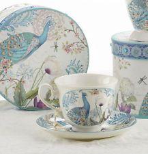 Delton Porcelain Tea Cup & Saucer Gift Set PEACOCK