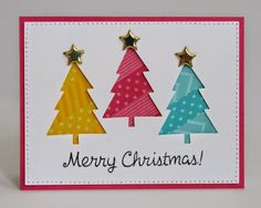 Snippets By Mendi: Cute & Colorful Holiday Christmas Tree Cards.  washi tape behind a cutout!