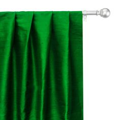 Faux Silk Curtains, Custom Curtains, Curtain Fabric, Drapery Panels, Panel Curtains, Green Fabric, Silk Fabric, Types Of Window Treatments, Box Pleats