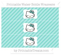 Free Tiffany Blue Diagonal Striped Hello Kitty Water Bottle Wrappers