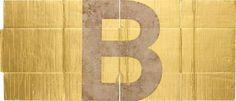 DANH VO Alphabet (B) , 2011 gold leaf on unfolded cardboard box 36 1/4 x 85 7/8 in. (92 x 218 cm)