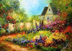 Tranquility Cottage Garden by Texas Flower Artist Nancy Medina - Original Fine Art for Sale - © Nancy Medina