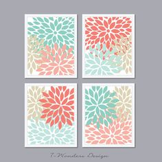 Modern Abstract Flower Bursts Set 4 5x7 8x10 or by 7WondersDesign, $25.00