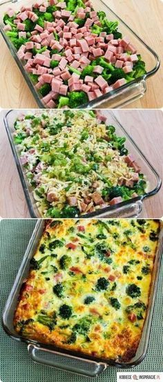 Broccoli, Ham, and Mozzarella Baked with Eggs. Could replace ham with Turkey bacon! This low-carb breakfast casserole has a lot of broccoli, ham, and Mozzarella baked with just enough eggs to hold it together! Low Carb Recipes, Diet Recipes, Cooking Recipes, Healthy Recipes, Ham Steak Recipes, Recipies, Recipes With Diced Ham, Sausage Recipes, Recipes With Egg Dinner