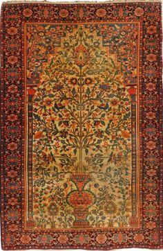Rare et fin SAROUK-FERAHAN (Perse), fin 19ème siècle, forme prière  Champ crème…