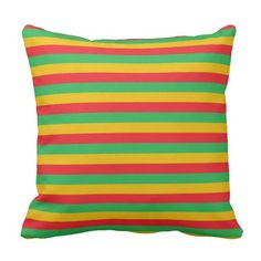 Red, Green and Gold Stripes Throw Pillow