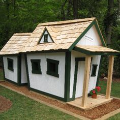 """... and they all lived together in a little crooked house!"" Crooked Houses playhouses are whimsical but sturdily built. Great for a grandparents' house!"