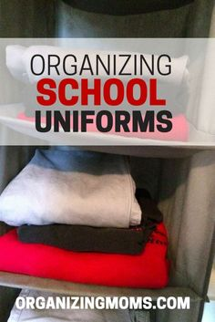 Easy technique for organizing school uniforms for youngsters so they can dress themselves in the mornings.