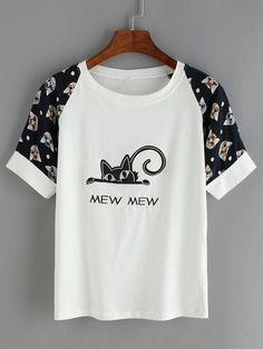 Cat Print Embroidered T-Shirt