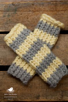 Knitted Baby Leg Warmers, striped gray and yellow, newborn or infant photo prop