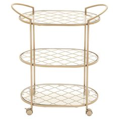 Arrange a glittering array of decanters, glassware, and mixers on this 3-tier cart for a casual home bar, or set it next to the sofa as a stylish side table....