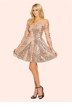 Work Some Serious Party Vibes This Seaon In All Over Rose Gold Sequin And Matching Mesh Skater Dress Features A Sweetheart Neckline With An