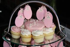 Stampin' Up!  Punch Art  Janet Yates  Baby Shower Cupcakes